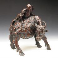 清 桦木雕牧牛像