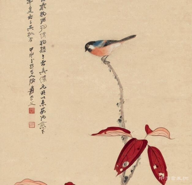 红叶玉鸦图》姊妹之作——《红叶青禽图》