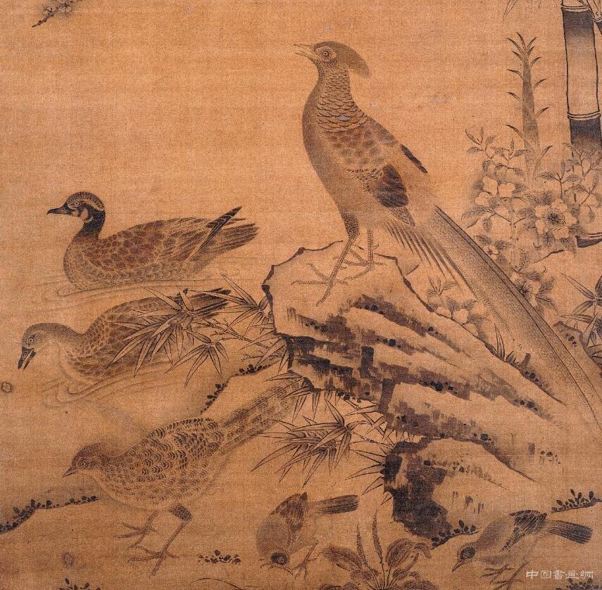 杏竹报春讯,春禽寄春意——《杏竹春禽图轴》