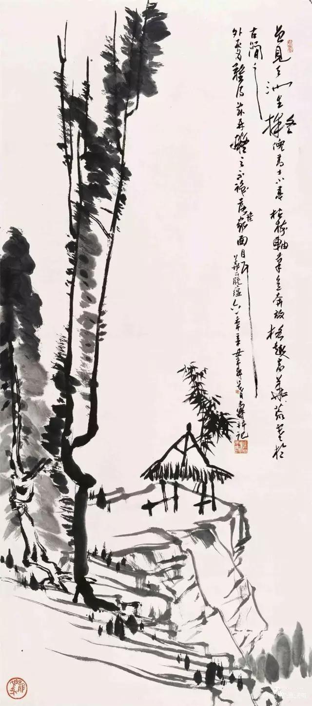 小亭枯树图