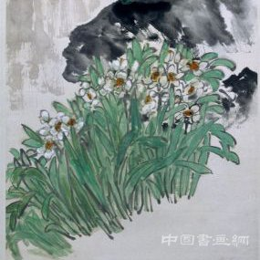 吴昌硕天竺水仙图轴