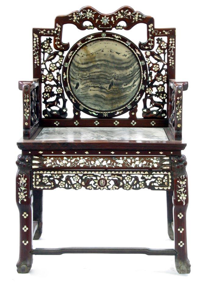 清 紅木透雕嵌螺鈿靠椅
