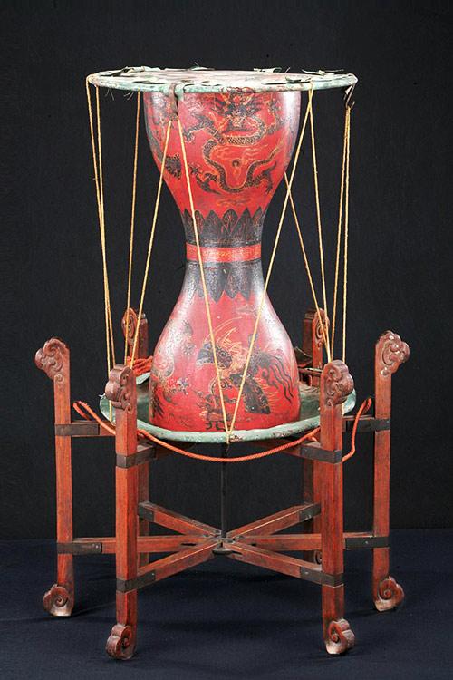 清 彩繪大杖鼓
