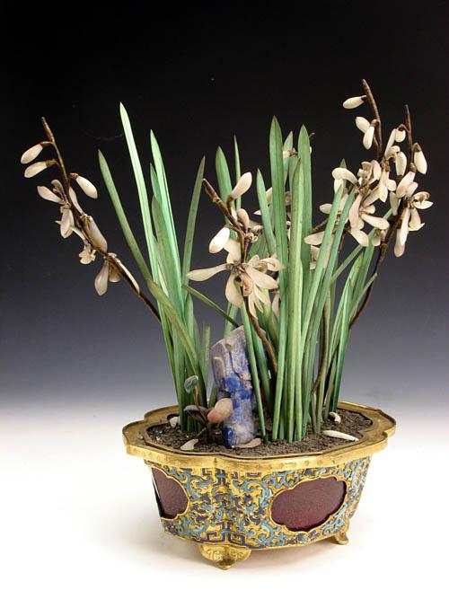 清 填琺瑯料石藍花盆景