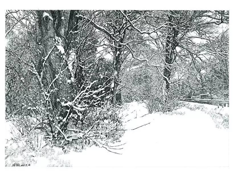 针笔黑白风景画