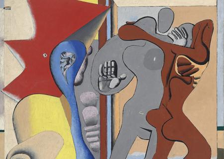 <b>勒‧柯布西耶,《门前的灰色女人、红色男人及骨头》</b>