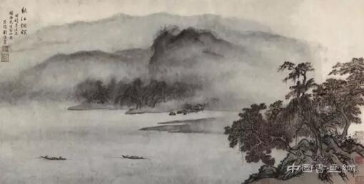 中國嘉德春拍:周穎南藏劉海粟《秋江煙暝》