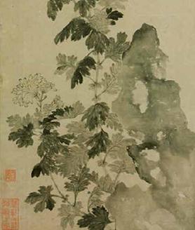 《菊石图》轴