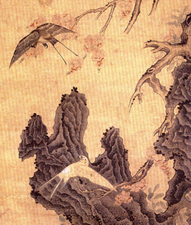 <b>[明]米万钟《红杏双燕图轴》</b>