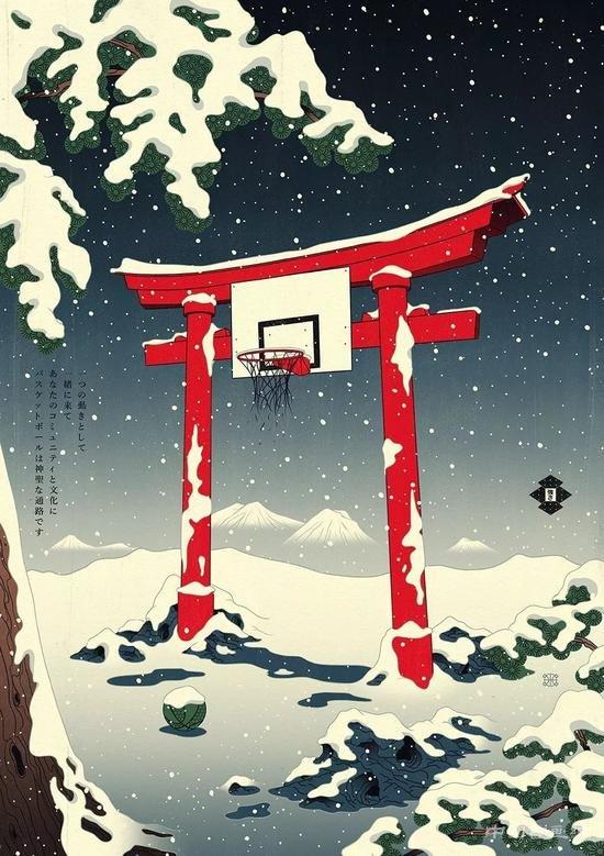 浮世绘风格与篮球融合的插画