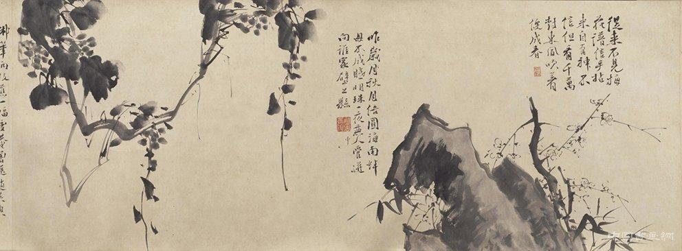 明 徐渭《墨花九段图》卷
