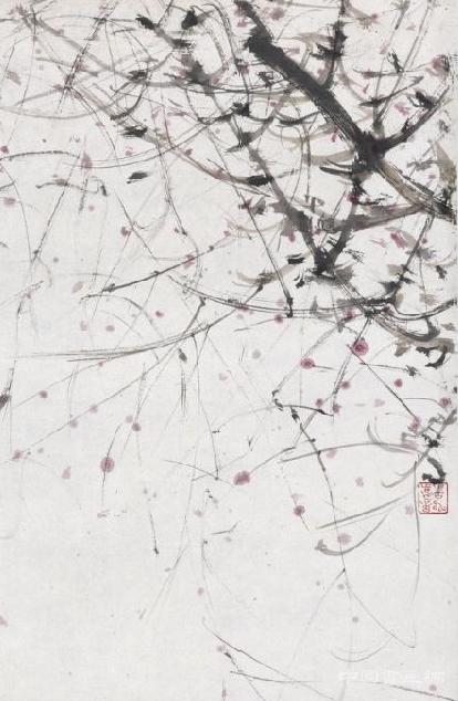 现代 傅抱石《秋风红雨图》轴_艺术文化