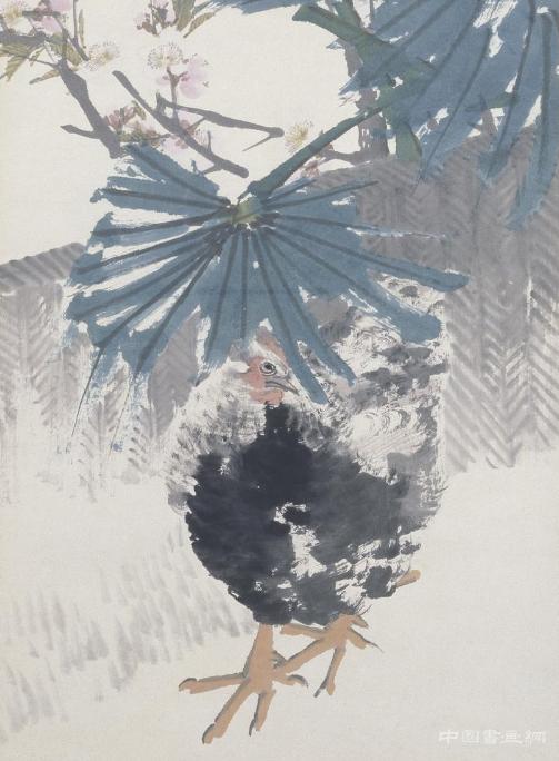 任颐棕榈鸡图轴_艺术文化
