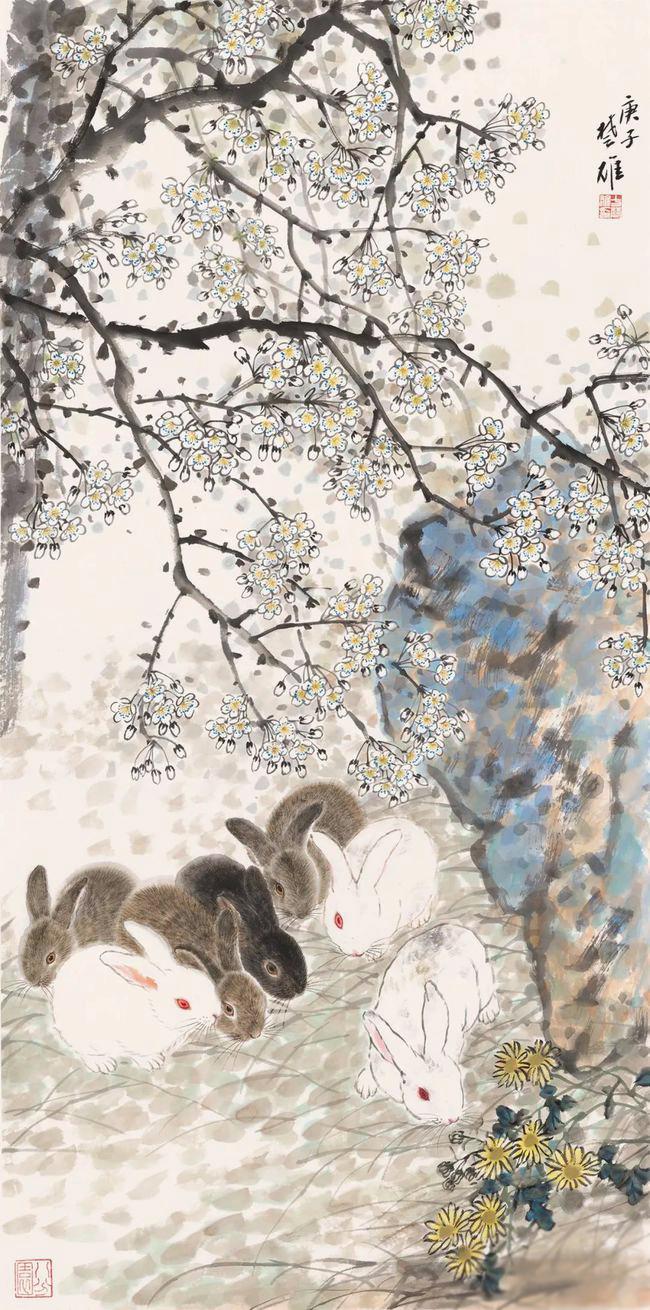 《梨花群兔》
